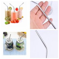 Wholesale 6mm metal - Stainless Steel Drinking Straws Reusable Straws Metal Drinking Straw Bar Drinks Party wine Accessories 6MM*0.5*215 KKA4489