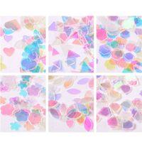 свободные обертывания для ногтей оптовых-3D Transparent Square Nail Sequin Stickers Glitter Decal Female Nail Art Decor Wraps Free Shipping In Russia
