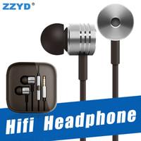 örgülü kulaklıklar toptan satış-ZZYD 3.5mm Metal HIFI kulaklık TPE ile Örgülü Kulaklık Evrensel mic Uzaktan Kulak kulaklık ile Xiaomi Samsung note8