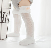 Wholesale girls ruffled lace socks resale online - Summer Baby lace socks girls kids lace gauze Bows applique ruffle princess sock baby legs children lace hollow breathable long sock Y4267