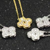 titan 14k gold halskette großhandel-Blumen Diamant Anhänger Halskette Frauen Glück 14k Gold Halskette Frau Hochzeit Halsketten