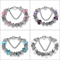 Wholesale Wholesale African Bags - New Fashion Jewelry Natural stone Murano Glass Charms Bracelets & Bangles Butterfly beads fits Pandora bracelet For Women with Gift bags