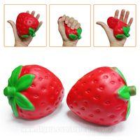 Wholesale Imitation Fruit - Strawberry Squishies Fruit Imitation Fruitage Squishy Scented Toy Fidget Jumbo Kawaii Slow Rising Big Phone Pendant Free Shipping SQU007