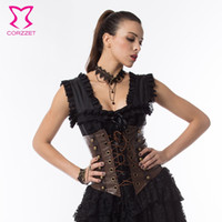 1eaec6c6e1 costume sexy corsets Australia - Sexy Gothic Punk Brown Faux Leather Steampunk  Sexy Classic Underbust Corset