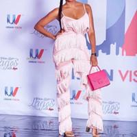 sexy rosa spielanzug großhandel-Fransen Strampler Womens Jumpsuit Quasten Sexy Tiefem V Backless Rosa Chic Outfits Fashion Runway Overalls Für Frauen 2018
