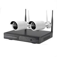 sistema sem fio de câmera interna ao ar livre venda por atacado-2CH Câmera Sem Fio Kits de Fio de segurança Em Casa Sistema de CFTV 2 Canais Indoor 720 P Ao Ar Livre Câmera de Vigilância de Vídeo IP