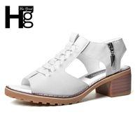 Wholesale black hee - HEE GRAND Vintage Elegant Women's Sandals Summer Style Peep Toe Cross Tied Side Zip Design Mid Square Heel Shoes Woman XWZ2819