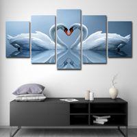 cartaz da foto da arte venda por atacado-Arte da parede Fotos Da Arte Da Lona Impressão de Cartaz Pintura Decoração de Casa 5 Painel Animal Amor Cisne HD Foto Para Quarto de Crianças