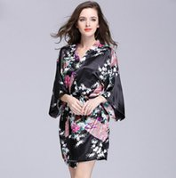 Wholesale silk nightgowns robes - Yao Ting Supply Peacock Pajamas Silk Pajamas Bathrobes Women's Summer Silk Single Nightgown Tracksuit