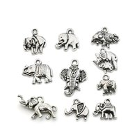 Wholesale elephant mix for sale - Group buy Mixed Tibetan Silver Plated Animals Elephant Charms Pendants Jewelry Making DIY Accessories Charm Handmade Crafts