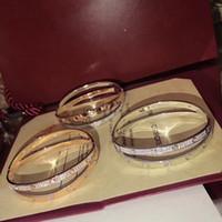 reine 925 sterling silber armbänder großhandel-Neue Marke Reine 925 Sterling Silber Schmuck Für Frauen 2 Runde 2 Farbe Kreis Armreif Hochzeit Schmuck Mode LIEBE Armband Luxus