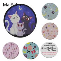 sailor moon juegos al por mayor-MaiYaCa 2018 New Sailor Moon cat pattern Almohadilla de silicona para mouse Game High Speed ​​New Round Mousepad