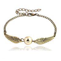 Wholesale vintage 14k charm for sale - Group buy quidditch golden snitch pocket Bracelet Harry Charm bracelets wings Potter vintage retro tone for men and women