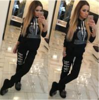 bayanlar hoodies terlemeleri toptan satış-Fermuar Yeni Bayanlar Eşofman Hoodies Kazak + Uzun Pantolon Sportwear Kostümleri Kadın Eşofman Pantolon 2 Parça Set Koşu Takım Elbise