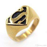anéis superman para homens venda por atacado-Anel de Aço Inoxidável 316L Superman Símbolo Anel de Dedo Moda Midi Fundição Anéis Dos Homens Do Punk Quatro Cores Anéis VICHOK