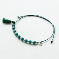 ingrosso punte da 4mm-Braccialetto di perline di pietra naturale Nappa 4mm Colore blu Perle di perline Fatti a mano Braccialetti sottili Fascino a mano Catena a corda