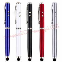 canetas esferográficas led venda por atacado-4 em 1 caneta de toque led tocha touch screen stylus caneta esferográfica para ipad iphone 6 7 8 samsung tablet pc mp3