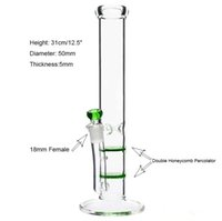 "Wholesale Blue Straight - Water Pipe ""Delicious Green blue Delilah"" glass bongs 12"" innovative details 5mm thick double honeycomb Percolator water bong Ice catcher"