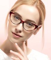 marcos de lentes titanium purple mujeres al por mayor-Gafas de mujer Marco Gafas de miopía Lady Gafas de ojo de gato TR90 Gafas de hombre Hyperopia Prescripción Flexi