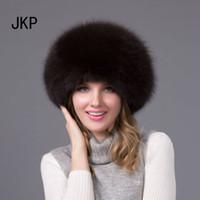 chapéu feminino russo venda por atacado-JKP 2018 Mulheres Reais Chapéu De Pele De Raposa Russa Ushanka Cossaco Chapéus de Inverno Quente Ear Cap Moda feminina sólida chapéu HJL-02