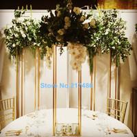 masa için vazolar toptan satış-Yeni stil altın / Gümüş Çiçek Vazo Trompet Şekli Düğün Masa Centerpiece Olay Yol Kurşun Çiçek Vazo best0058