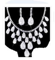 conjunto de colar de casamento de pedra branca venda por atacado-maravilhoso branco diamante pedra noiva casamento jóias conjunto colar brincos shii; 'l;' i6