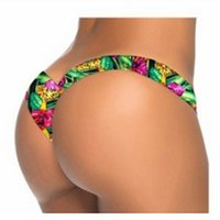 Wholesale New Mini Thong Bikini - 2018 New Floral V shape sexy women brazilian tanga brasil thong female swimwear micro mini bikini bottom brief Panties Underwear