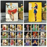 cartazes sexy venda por atacado-20 * 30 cm Do Vintage Retro Metal Sinal Poster Modern Sexy Meninas Cartazes Placa de Parede Do Clube Arte da parede de Metal Pintura Decoração Da Parede FFA972 100 PCS