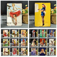 Wholesale art painting resale online - 20 cm Vintage Retro Metal Sign Poster Modern Sexy Girls Posters Plaque Club Wall Home art metal Painting Wall Decor FFA972
