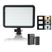 farbe perlen geführt großhandel-204 PCS Beads Led Videoleuchte Panel Bi-color Temperatur 3200K-5600K Foto Kamera Studio LED Beleuchtung + Batterie + Ladegerät