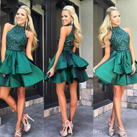 Wholesale Homecoming Charms - Custom Made Emerald Green Short Prom Dresses High Neck Beaded Satin Mini Homecoming Dresses Charming Cocktail Party Dress