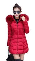 Wholesale women long winter puffer jacket - Fashion Women Winter Outerwear Warm Thickened Coats Long Down Parka Puffer Jacket Outwear Black Red L-4XL