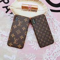 iphone leder gebrandmarkt großhandel-Luxus ledertasche für iphone x xs max xr 8 7 6 s plus case marke zurück phone cover schutz coque für samsung s10 s9 s8 plus note s10 9 8