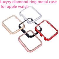 42mm ring großhandel-Für Apple Uhr Aluminium Cover Ring Diamant Luxus Glänzende Metall Stoßstange shell 38mm 42mm Ultradünne iwatch Smart zubehör band + paket !!
