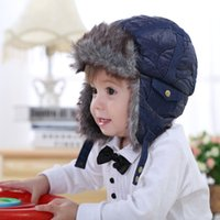 Wholesale Baby Fleece Hat - Baby &Kids Children Boys Faux Fur Fleece Blue Bomber Hats New Winter Warm Snow Casual Earflap Hats Christmas Gifts Cute Baby Cap