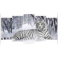 """panneaux d'art de jardin peints achat en gros de-5D DIY Diamant Peinture """"tigre"""" Broderie Plein Carré Diamant Point De Croix Strass Mosaïque Décor Cadeau"""