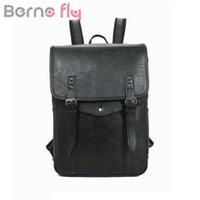 Wholesale large leather laptop backpacks - BERNOFLY Brand Vintage PU Leather Men Backpack Large Capacity Laptop Bag pack Man Travel Bag School Backpacks For Teenagers