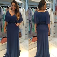 Wholesale Flowy Floor Length Dress - Plus Size Cheap Mother of Bride Groom Dresses 2018 New V Neck Short Sleeves Sheath Flowy Chiffon Long Mother Formal Evening Gowns