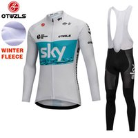 Wholesale Maillot Sky Pro Cycling - Sky 2018 Cycling Jersey Sets Long Sleeve Winter Thermal Fleece Cycling Clothing Pro Team Breathable MTB Bicycle Clothes Maillot Ciclismo