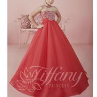 mercan çiçek elbiseleri toptan satış-Mercan Boncuk Kristal Sequins Uzun Çiçek Kız Elbise 2019 Küçük Kızlar Pageant elbise Balo Çiçek Kız Örgün Tutu Parti Elbise Çocuklar için