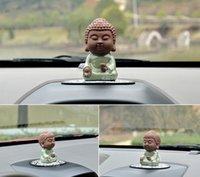 ingrosso figurine fatte a mano-Ornamenti per auto Handmade Belle monaci buddisti Buddha Figurine Charms Automobile Interior Desk Furniture Decoration Ornament Gifts