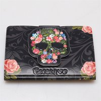 Wholesale World Interiors - 2017 New Fashion PVC Leather Unisex Card Wallet Female Credit Card Holder 16 Slots Cartoon Rose Skull World Map Women Purse