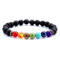 wulstklammern großhandel-1 stücke Mode 7 Chakra Healing Perlen Armband Natürliche Lava Stein Diffusor Armband Schmuck