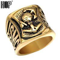 mücevherat takma çapalar toptan satış-Hip hop Punk USMC ABD Gümrük Deniz Piyadeleri Çapa Yüzük Altın Gümüş Renk Paslanmaz Çelik Tıknaz Mens Signet Yüzükler Kaya Takı