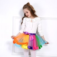 ingrosso stella di natale in rilievo-Rainbow Skirts Girl Christmas performance Abbigliamento Summer Color Girls Clothes Colorful Kids Tutu Gonna Princess Party Petticoat Pettiskirt