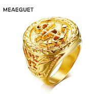 ingrosso anello dell'aquila dell'acciaio inossidabile 316l-Meaeguet Vintage Eagle modello Anchor Ring per uomo Hiphop Rock Style oro-colore 316L gioielli in acciaio inossidabile partito