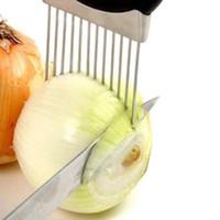 tomatenhalter großhandel-Easy Onion Holder Slicer Gemüsewerkzeuge Tomatenschneider Edelstahl Küchenhelfer Keine stinkenden Hände mehr