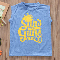 "Wholesale toddlers sleeveless t shirts - INS Summer Toddler Kids T-shirt Clothes Sleeveless ""Sun Out"" print Letter Print Baby Boy Clothing T-shirt Vest Children Blusa Tops 1-5T"