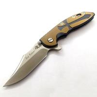 "Wholesale ground handling - Samior Rick Hinderer XM-18 XM18 3.15"" M390 Stonewashed Bowie Grind Flipper Blade Anodized Bronze CNC Titanium Alloy Handle Folder Knives"