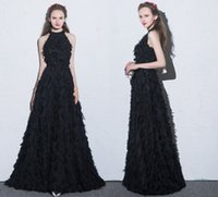 Wholesale Small Hourglasses - 2018 Sexy Long-Sleeved Formal Evening Dresses Black White Small Round Neck Back Zipper Special Fabric Prom Party Dresses HY076